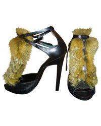 Roberto Cavalli Black Leather Heels