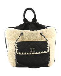 Chanel Black Leinen Handtaschen