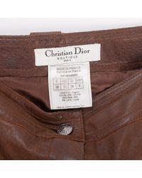 Pantalones en cuero marrón \N Dior de color Brown