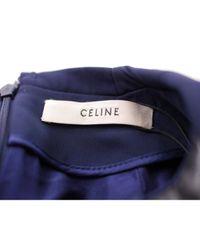 Céline Blue Kleid Leder Marine