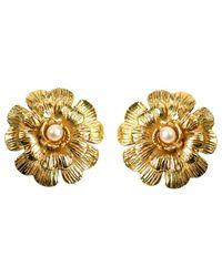 Chanel   Metallic Pre-owned Camélia Earrings   Lyst