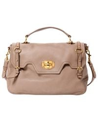 Miu Miu Natural Pre-owned Vitello Leather Crossbody Bag