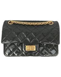 Chanel Gray 2.55 Patent Leather Handbag