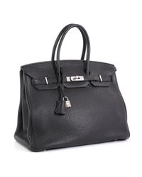Borsa a mano in pelle nero Birkin 35 di Hermès in Black
