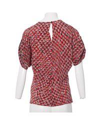 Louis Vuitton Red Seide Bluse