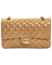 Chanel Natural Pre-owned Timeless Leather Handbag