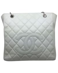 Chanel White Pre-owned Grand Shopping Leather Handbag