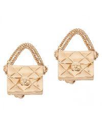 Chanel - Metallic Pre-owned Matelassé Earrings - Lyst