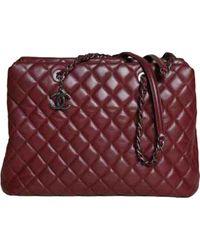 Borsa a mano in pelle bordeaux Grand shopping di Chanel in Multicolor