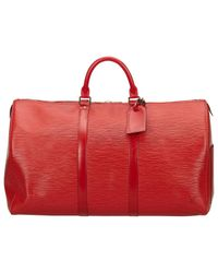 Louis Vuitton Red Keepall Burgundy Leather