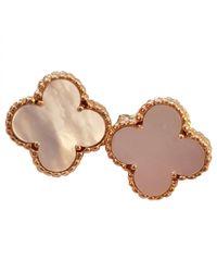 Van Cleef & Arpels - White Alhambra Yellow Gold Earrings - Lyst
