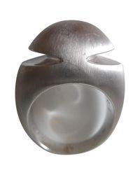 BVLGARI - Metallic Cabochon Silver White Gold Ring - Lyst