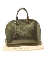 Borsa a mano in vernice verde Alma di Louis Vuitton in Green