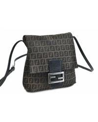 Bolsa de mano en cuero negro Fendi de color Black