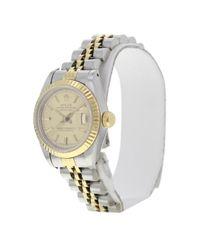 Reloj en oro y acero caqui Lady Oyster Perpetual 26mm Rolex de color Metallic