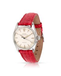 Reloj en acero plateado Rolex de color Red
