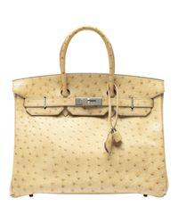 Hermès Natural Birkin 35 Vogelstrauß Handtaschen