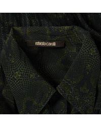 Roberto Cavalli Green Silk Top