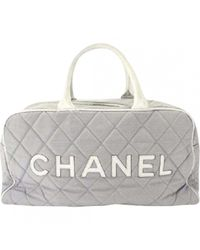 Chanel - Gray Pre-owned Cloth Travel Bag - Lyst