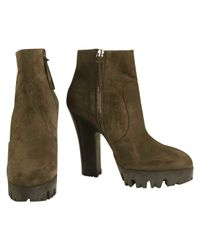 Miu Miu - Gray Pre-owned Ankle Boots - Lyst