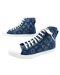 Louis Vuitton - Blue Pre-owned Cloth Trainers - Lyst