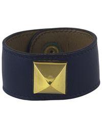 Hermès - Blue Médor Leather Bracelet - Lyst