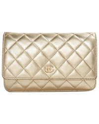 Chanel Metallic Pre-owned Wallet On Chain Leather Clutch Bag