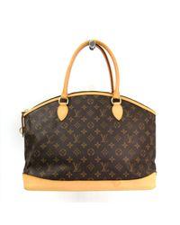 Louis Vuitton Brown Lockit Leinen Handtaschen