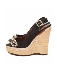 Roberto Cavalli Blue Cloth Sandals