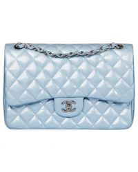 Chanel - Blue Pre-owned Timeless Patent Leather Handbag - Lyst