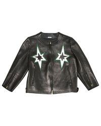 Miu Miu Black Leather Short Vest
