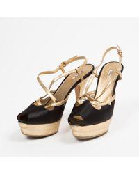 Miu Miu \n Black Cloth Sandals