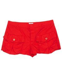 Miu Miu Red Cotton Shorts