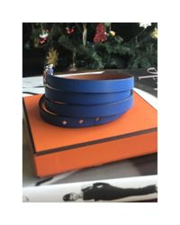Hermès Blue Hapi Leder Armbänder