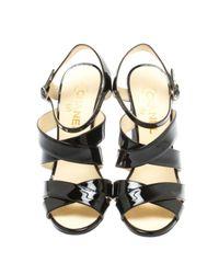 Chanel Black Lackleder Sandalen
