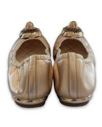 Chanel Metallic Leder Ballerinas