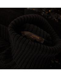 Louis Vuitton Black Wolle Midi Kleid