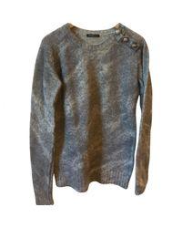 Pull-over en laine Balmain en coloris Gray