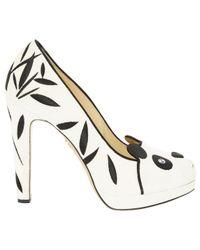 Charlotte Olympia \n White Velvet Heels