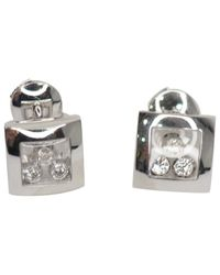 Pendientes en oro blanco plateado Happy Diamonds Chopard de color Multicolor
