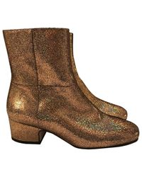 Joseph Metallic Leather Ankle Boots