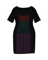 Fendi Black Wolle Midi Kleid