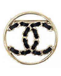 Chanel Black Cc Leder Broschen
