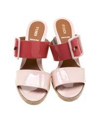 Sandales en Cuir verni Rose Fendi en coloris Pink