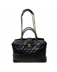 Chanel Black Leder Shopper