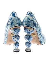 Charlotte Olympia Blue Leinen Pumps