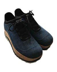 Miu Miu Black Leinen Sneakers