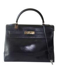 Hermès Blue Pre-owned Vintage Kelly 32 Navy Leather Handbags
