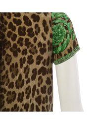 Top in seta marrone \N di Versace in Brown