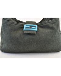 Fendi Gray Baguette Wolle Handtaschen